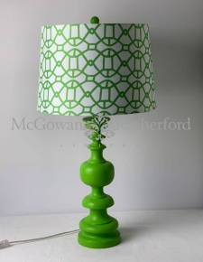 Matt Green Column Table Lamp with Patterned Shade