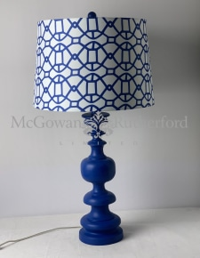 Matt Blue Column Table Lamp with Patterned Shade