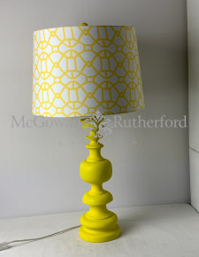 Matt Chartreuse Yellow Column Table Lamp with Patterned Shade