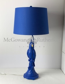 Matt Blue Parrot Table Lamp with Metallic Lined Shade