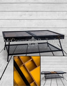 Industrial Wooden & Metal Sliding Door Display Coffee Table