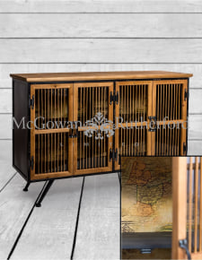 Metal and Wooden Map Print Side Cabinet
