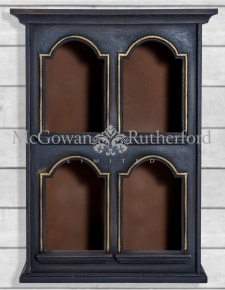 Antiqued Black Wall Cabinet with Archway Shelf Openings