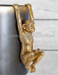 Antique Gold Hanging Monkey Pot Decor