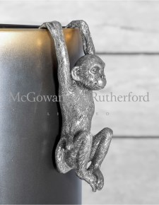 Antique Silver Hanging Monkey Pot Decor