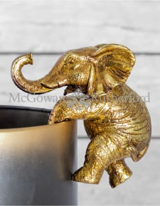 Antique Gold Hanging Elephant Pot Decor