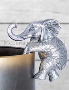 Antique Silver Hanging Elephant Pot Decor