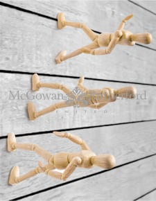 Set of 3 Wall Climbing Wooden Effect Model Men Figures