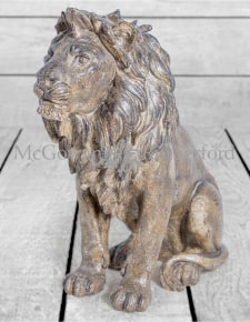 Large Bronze Effect Sitting Lion Figure