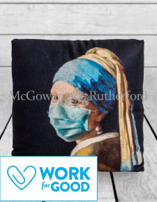 Girl with a Pearl Earring Face Mask Cushion