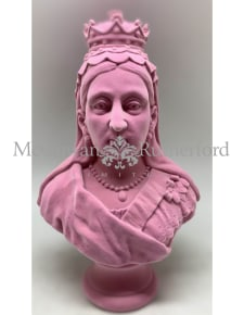 Pink Flock Large Queen Victoria Bust
