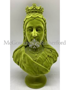 Olive Green Flock Large Queen Victoria Bust