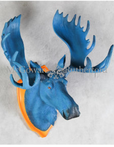 Electric Blue Moose Wall Head on Orange Plaque