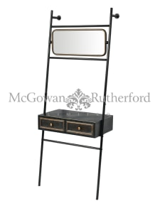 "Black and Antique Gold ""Orwell"" Console Unit with Mirror"