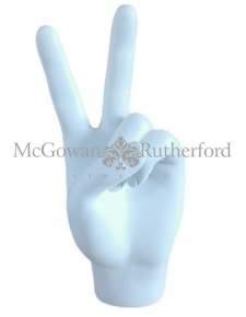 "White ""Peace"" Hand Figure"