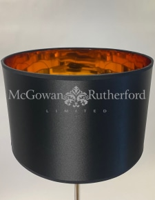 "Black 14"" Drum Lamp Shade with Copper Metallic Lining"