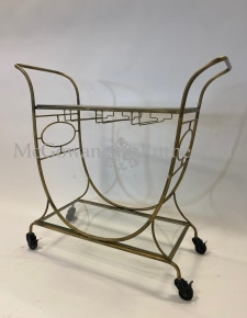 Gold and Glass Metal Bar Trolley
