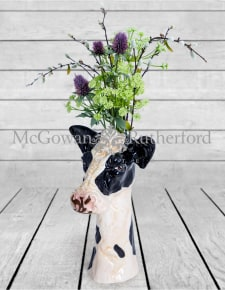 Ceramic Friesian Cow Head Vase