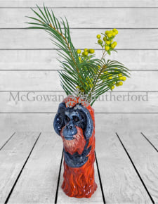 Ceramic Orangutan Head Vase