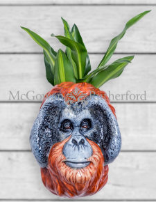 Ceramic Orangutan Head Wall Sconce Vase