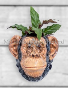 Ceramic Chimpanzee Head Wall Sconce Vase