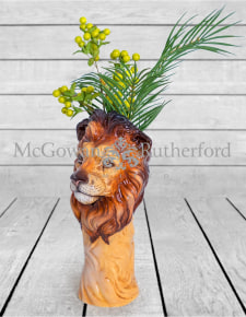 Ceramic Lion Head Vase