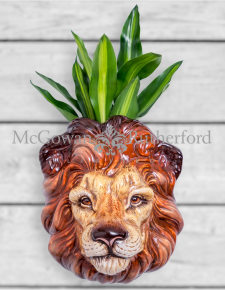Ceramic Lion Head Wall Sconce Vase