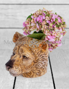 Ceramic Lioness Head Storage Jar/Vase