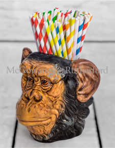 Ceramic Chimpanzee Head Storage Jar/Vase