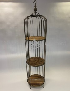 Antique Gold Bird Cage Style Storage Unit with Reclaimed Wood Shelves