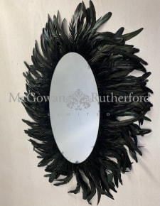 Large Oval Feather Framed Wall Mirror