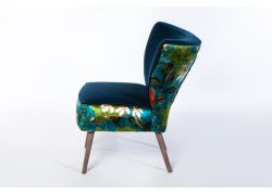 Phoebe Chair Smoke Leg - Passiflora Kingfisher & Vintage Royal