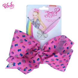 JOJO Printed Cupcake Bow Pink with Necklace set