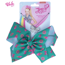 JOJO Printed Bow Green with Necklace set