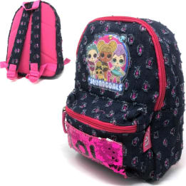 Deluxe Denim Eastpack Style Backpack Sequins LOL Surprise