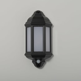 Manta 10W LED Black Half Wall Lantern with PIR