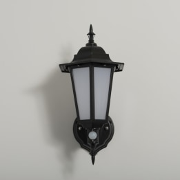 Manta 7W LED Upward Wall Lantern with PIR Black