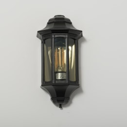 Rio E27 Flush Wall Lantern with Clear Diffuser Black