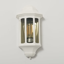 Rio E27 Flush Wall Lantern with Clear Diffuser White