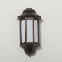 Rio 13W Low Energy Flush Wall Lantern with Opal Diffuser Antique Bronze