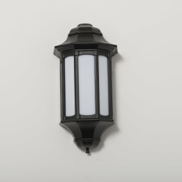 Rio 13W Low Energy Flush Wall Lantern with Opal Diffuser Black