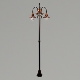 Lampara E27 Triple Street Post Black/Copper