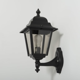 Nizza E27 Upward Wall Lantern Black