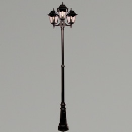 Nizza E27 Triple Street Post Lantern Black
