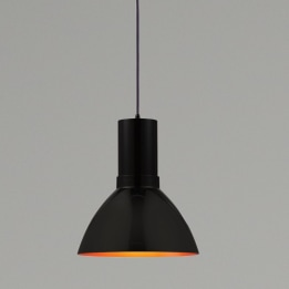 Mika 26W 3000K LED Pendant Light Black with Black/Gold Shade