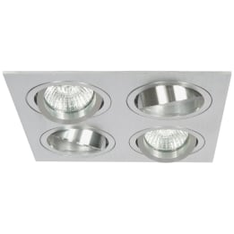 Chieti GU10 Quad Square Plate Brushed Aluminium