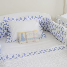 Cot Bumper - Rabbit Trellis Blue