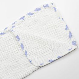 Cellular Edged Pram Blanket - Rabbit Trellis Blue