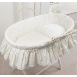 Moses Basket Set - Rabbit Trellis Cream