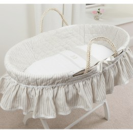 Moses Basket Set - Linen Stripe Beige